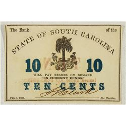 1863 THE BANK OF THE STATE OF SOUTH CAROLINA