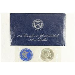 1973-S  IKE SILVER DOLLAR UNCIRCULATED (BLUE PACK)