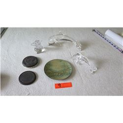 Small Glass Dolphins, Misc. Items (6 pc)