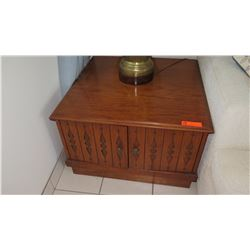 """Pair: Hardwood End Tables with Interior Shelves, Carved-Door, 30"""" X 30"""""""