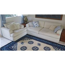 Matching White Sofa Loveseat and Arm Chair, 7'3 Long,  3'5 Depth