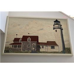 """Large Framed Textured Tapestry, Building and Lighthouse 51.5"""" X 31"""""""