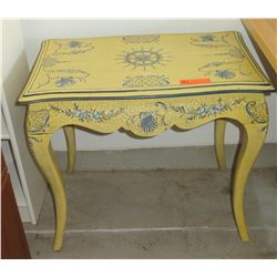 """Yellow Side Table w/Garland Motif, Crackle Finish 27.5""""W X 17""""D X 26""""H"""