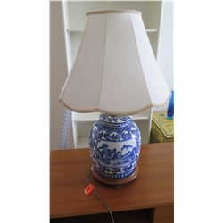 """Blue and White Porcelain Table Lamp, Approx. 30"""""""