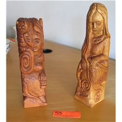 "Qty 2 Carved Wood Figures, Artist MQ Slico, 1987 (tallest is 13""H)"