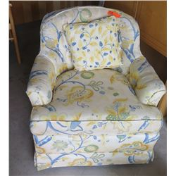 "Furniture - Yellow and Blue Floral Patterned Armchair Approx. 30""W, 30""H"