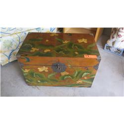 Painted Wooden Trunk lined with Japanese Writing