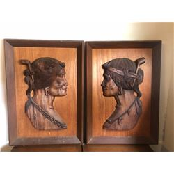 (Just added April 20) Carved Wall Art, Bas Relief Carving, Primitive Man & Woman
