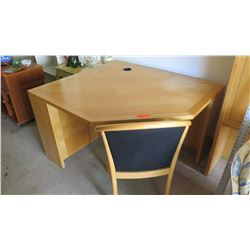 Light Wood Corner Desk with Chair, Detail Accent (some fading towards right)