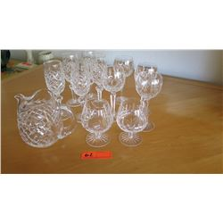Crystal Pitcher and Stemware (12 pc)