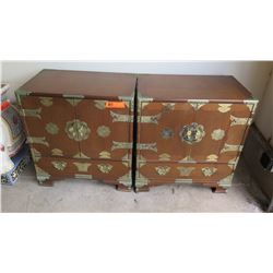 "Pair: Oriental Wood Cabinets w/ Metal Hardware, 4 Drawers, 22"" X 14"" X 24.5""H"