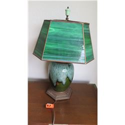Green Stained Glass Table Lamp w/ Green Raku-Style Ceramic Base