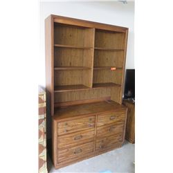 Large Wooden Shelving Unit w/ Bottom Drawers