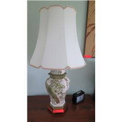 "Table Lamp with Green/White Ginger Jar Base, 31"" Tall"