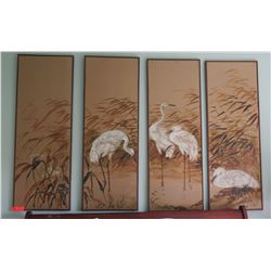 4-Panel Artwork with Cranes