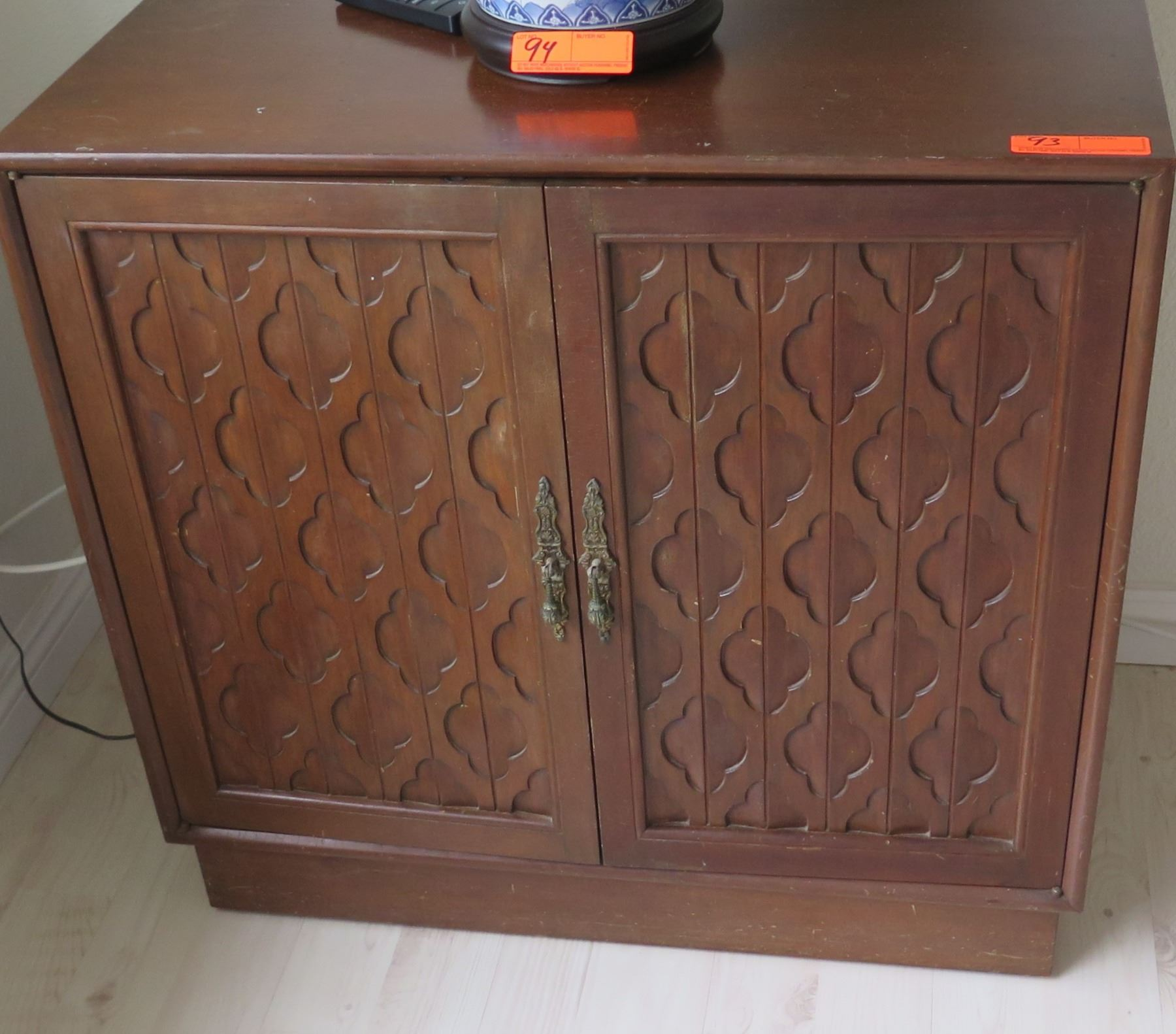 Image 1  Wood Cabinet w/ Carved Door Panels  32  x 15  ... & Wood Cabinet w/ Carved Door Panels  32