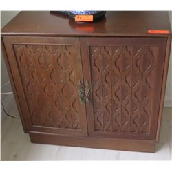 "Wood Cabinet w/ Carved Door Panels , 32"" x 15"" X 30""H"