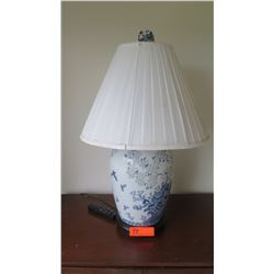"Blue and White Ceramic Table Lamp, 28"" Tall"