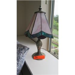 "Stained Glass Table Lamp with Antiqued Metal Base, 15"" H"