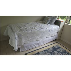 Twin Bed w/White Headboard, Mattress & Box Spring (6' X 3'1), Quilted Coverlet