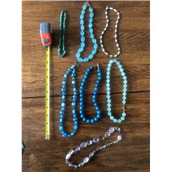Qty 7 Beaded Necklaces - Amethyst, Turquoise, Semi-Precious Stones, Glass, etc