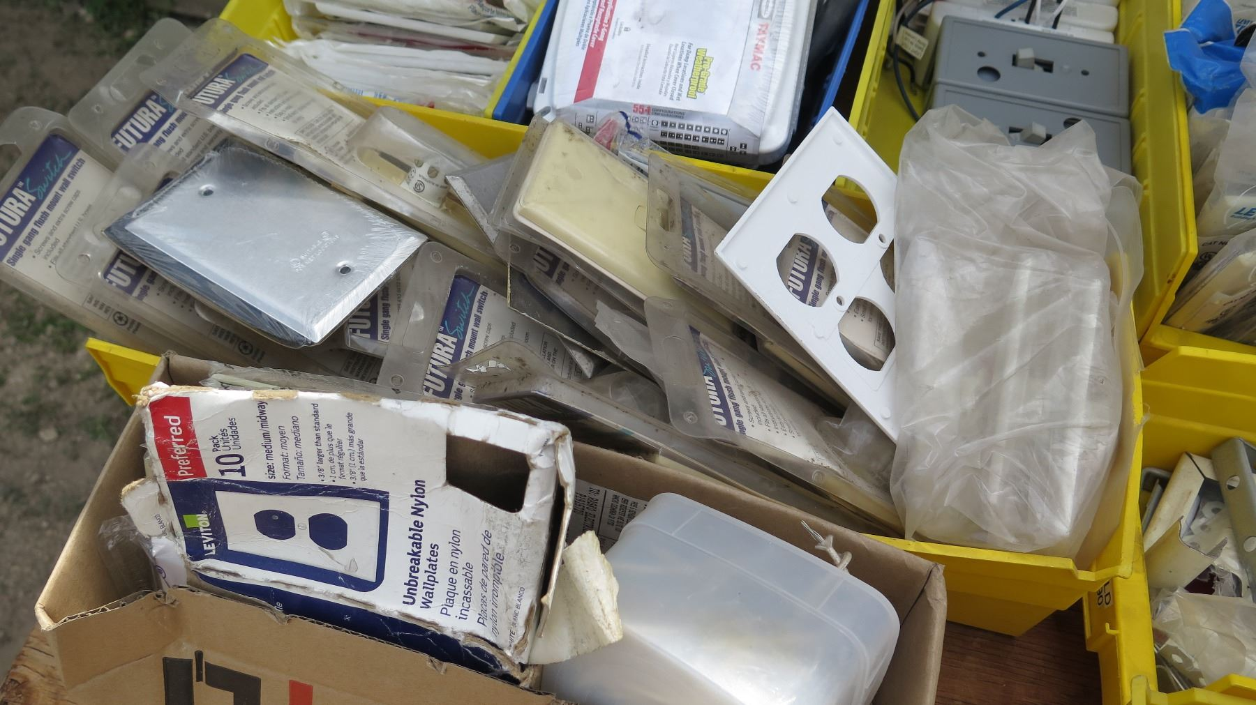 Large Lot of Gang Boxes, Outlet Covers, Switches, Dimmers, etc.
