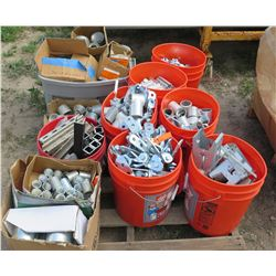 7 Buckets and 3 Boxes of Misc. Pipe Fittings, Fasteners, etc.
