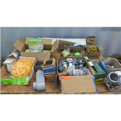 Various Power Adapters, Pipe Fittings, Gang Boxes