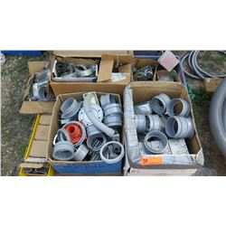7 Boxes of Various Pipe Fittings, Fasteners, Gang Boxes, Covers, etc.