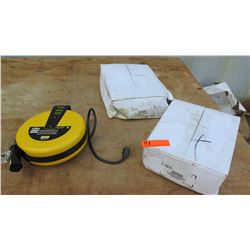 1 Hubbel Commercial Cord Reel Cat # HBLC25163C and 2 Steelman Retractable Cord Reel with T-tap and 1