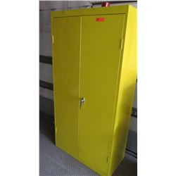 Large Yellow Metal Cabinet with 4 Shelves