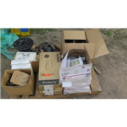 Pallet of Various Lamps, Cords, Cables, Wires, Gang Boxes