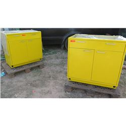 2 Yellow Metal Cabinets with Drawer
