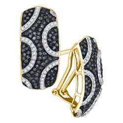 0.75 CTW Black Color Diamond Cluster French-clip Earrings 10KT Yellow Gold - REF-52W4K