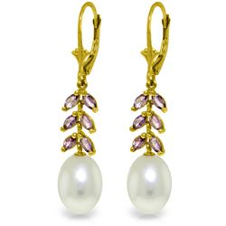 Genuine 9.2 ctw Pearl & Amethyst Earrings Jewelry 14KT Yellow Gold - REF-45K8V