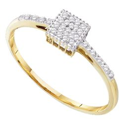 0.07 CTW Diamond Cluster Ring 10KT Yellow Gold - REF-8K9W