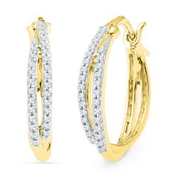 0.25 CTW Diamond Double Row Hoop Earrings 10KT Yellow Gold - REF-22X4Y