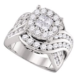 2.51 CTW Princess Diamond Soleil Cluster Bridal Engagement Ring 14KT White Gold - REF-285X2Y