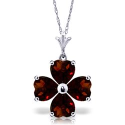 Genuine 3.8 ctw Garnet Necklace Jewelry 14KT White Gold - REF-42V2W