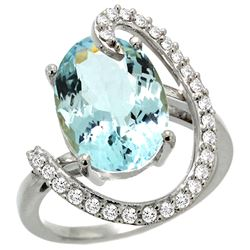 Natural 5.91 ctw Aquamarine & Diamond Engagement Ring 14K White Gold - REF-121X3A