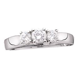0.97 CTW Diamond 3-stone Bridal Engagement Ring 14KT White Gold - REF-116X9Y