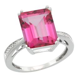 Natural 5.42 ctw Pink-topaz & Diamond Engagement Ring 10K White Gold - REF-57N3G