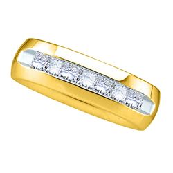 1.05 CTW Mens Princess Channel-set Diamond Anniversary Ring 14KT Yellow Gold - REF-194X9Y
