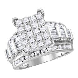3.02 CTW Diamond Cluster Bridal Engagement Ring 10KT White Gold - REF-240W2K
