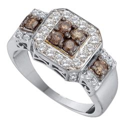 1 CTW Cognac-brown Color Diamond Cluster Ring 14KT White Gold - REF-75M2H