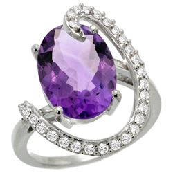 Natural 5.89 ctw Amethyst & Diamond Engagement Ring 14K White Gold - REF-91X4A
