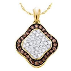 0.85 CTW Cognac-brown Color Diamond Square Cluster Pendant 10KT Yellow Gold - REF-30Y2X