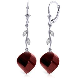 Genuine 30.52 ctw Ruby & Diamond Earrings Jewelry 14KT White Gold - REF-66T2A