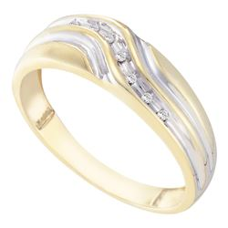 0.05 CTW Mens Diamond Single Row Two-tone Wedding Ring 10KT Yellow Gold - REF-14K9W