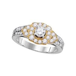 1 CTW Diamond 2-tone Bridal Wedding Engagement Ring 14KT White Gold - REF-136Y4X